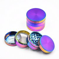 Wholesale glass spice grinder - 34mm 4 Layers Herb Grinder Zinc Alloy Rainbow Laser Color Mini Tobacco Grinders Spice Crusher for Glass Bongs 5915IB