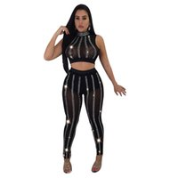 Wholesale sheer sexy yoga pants for sale - women crop tops set Rhinestone Mesh leggings sleeveless tshirt two piece set nightclub sexy glitter sheer short tank tops pants DHL