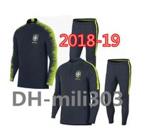 Wholesale yellow long sleeve shirt xl - 2018 2019 Brazil tracksuit training suits Uniforms shirts Chandal World Cup NEYMAR JR jacket tracksuits Survetement long sleeve tight pants