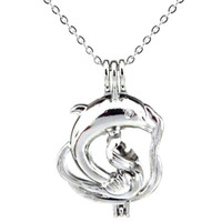 Wholesale dolphin locket chain resale online - Silver Ocean Animal Large Dolphin Hollow Oil Diffuser Locket Women Aromatherapy Beads Pearl Oyster Cage Necklace Pendant Boutique gift