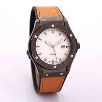 Wholesale leather belt color men online - 2018 New Simple classic design calendar quartz men s Watches leather interlayer Silica gel Watch strap Fashion man Watches