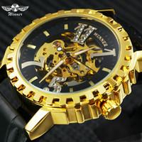 mens relógios de pulso venda por atacado-Vencedor Moda Auto Mecânico Mens Relógios Top Marca de Luxo Esqueleto de Ouro Dial Crystal Número Índice de Negócios Relógio de Pulso Dos Homens 2019