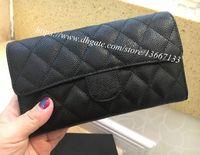 ingrosso borsa della scatola nera-2018 Nuovo design portafoglio frizione Portafoglio in vera pelle nera caviale con patta Portafoglio donna borsa lunga con scatola