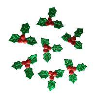 cadeau natal achat en gros de-500pcs vert feuilles rouge baies appliques joyeux noël ornement boîte cadeau accessoire bricolage artisanat Natal Home décoration nouvel an