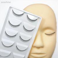 manequins para maquiagem venda por atacado-Treinamento profissional Manequim Cabeça Plana + 5 Pares Prática Cílios Formação Lash Cílios Enxerto Extensão Maquiagem Ferramentas de Beleza Frete Grátis