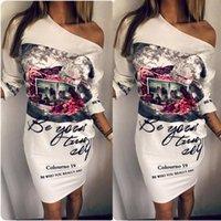 vestidos estilo borboleta venda por atacado-Estilo Europeu Vestido Mulheres Branco Floral Floral Borboleta Imprimir Vestidos Fora Do Ombro Vestido