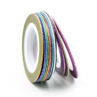 autocollants 1mm achat en gros de-12 Couleurs Choix Matte Rolls 1mm Striping Tape Line Rough Styles Nail Art Conseils Stickers Beauté Décorations Nail Accessoires