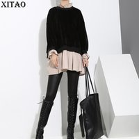 Wholesale Korea Winter Fashion Women - [XITAO] Autumn Winter 2017 Korea Fashion Women Stand Collar False Two Pieces Full Sleeve Patchwork Pullover Sweatshirts XWW1795