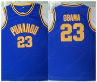 chemise de basket chaude achat en gros de-HOT Barack Obama 23 Punahou haut Basketball Maillots Hommes Basketball Jersey Vintage T-shirt classique cousu mode sport pas cher Halloween