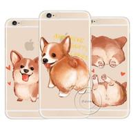 iphone hund harte fall großhandel-Super cute corgi case für apple iphone 7 5 5 s se 6 6 s 8 plus x sexy cartoon dog ass transparent hartplastik telefon abdeckung