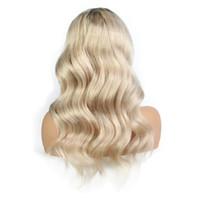 orta saçlı vücut dalgaları toptan satış-LIN ADAM Vücut Dalga İnsan Saç Peruk Ağartılmış Knot Tam dantel Peruk Brezilyalı Orta Boy İsviçre Dantel Kap Dantel Ön Peruk