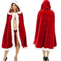 мех рождество плащ оптовых-Рождественский костюм плащ бархат меховой плащ Капа красный плащ Мыс для женщин Миссис Санта-Клаус с капюшоном Рождество