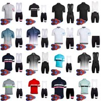 Wholesale padded cycling shorts - 2018 Rapha new summer mountain bike short-sleeved cycling jersey kit quick-dry men and riding shirts bib shorts set 9D gel pad D1795