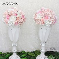 Wholesale column decor - JAROWN Artificial 35cm Wedding Flower Ball Simulation Rose Hydrangea Flowers Hemisphere Roman Column Home Party Decor Flores