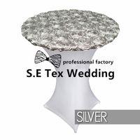 mavi likra toptan satış-Ucuz Fiyat Ile Saten Rozet Üst Likra Spandex Kokteyl Masa Örtüsü 'Düğün Masa Örtüsü Ücretsiz Nakliye