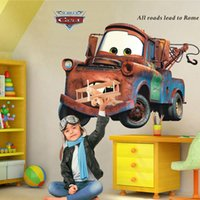 Wholesale Graphics Posters - Cartoon Car Child Room Wall Stickers for Kids Room Boy Bedroom Wall Decals Home Decor Poster 3D Car Wallpaper Art Mural