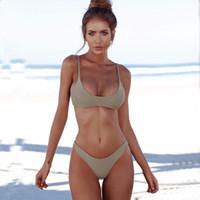 e09989fc01d48 Plus Size Swimwear Bikini Push Up Women 2018 Sexy Solid Brazilian Bandage Bikini  Set Halter Bathing Suits XXL Biquinis Monokini