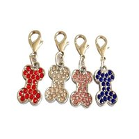 Wholesale rhinestone dog collar small for sale - Fashion New Arrival Mini Charms With Hooks Decoration Lobster Buckle Dog Collars Rhinestone Bone Shape Puppy Pendant High Quality cz aa