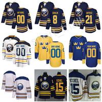 nombre de las camisetas del equipo al por mayor-Buffalo Sabres Rasmus Dahlin Jersey 26 Clásico de invierno Equipo de la Copa del Mundo Suecia 2018 Hockey 21 Kyle Okposo Número de nombre personalizado Azul marino Puntada Blanca