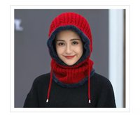 Wholesale knit skull cap for girls for sale - Group buy Winter Warm Knitted Hat Colors Double Thickening Cycling Beanie Hat scarf For Girls Student Teenagers Knitted Hat Cap MMA996 ppcs