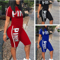 Wholesale ladies pants suits wholesale - Love Pink Letter Tracksuits Short Sleeve T-shirt Top Tees+Shorts Pants Ladies Tight Bodycon Summer Casual VS Yoga Gym Jogger Suit Plus Size