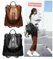 рюкзак из коричневой кожи pu оптовых-Черный коричневый женщин натуральная кожа PU рюкзак женские дамы девушка многофункциональный двойной молнии рюкзак бесплатно DHL G146L