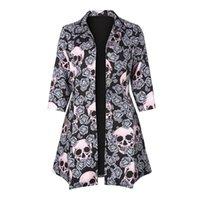 coole trenchcoats großhandel-Gothic Skull Print Jacke Mäntel Herbst Herbst eine Linie Half Sleeve Cool Turndown Kragen Frauen Button Trench Plus Größe Goth Jacken