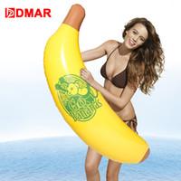 piscina inflável do mar venda por atacado-DMAR 110 cm Inflável Banana Piscina Gigante Flutuador Brinquedo Da Água Natação Anel Colchão Festa Na Praia Do Mar Do Miúdo Adulto Flamingo Unicórnio filhós