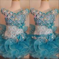 beaded bébé achat en gros de-2018 Cupcake Pageant robes pour petites filles bébé perlé Organza enfants mignons courtes robes de bal bébé océan bleu cristal anniversaire fête jupe