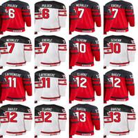 sudaderas personalizadas al por mayor-Custom 2018 Team IIHF Campeonato del Mundo Ryan Pulock Merkley Eberle Schenn Lafreniere Clarke Bailey Barzal Hoodie Jerseys Blanco Rojo