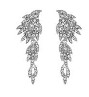 ingrosso gioielli sparare-Moda argento ali d'angelo orecchini ragazze lega strass da sposa lungo dangler Street Shooting Jewelry all'ingrosso