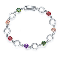 Wholesale Antique Sterling Bangle - Antique Special Gift Natural Round Mystic Multi-color Gemstone 925 Sterling Silver Plated Round Shaped Bracelet Bangle Russia Bracelet Jewe
