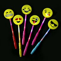 Wholesale smile stick - Vocal Concert Luminescence Emoji Electronic Sticks LED Kids Toys Funny Big Smile Flashing Stick Hot Sale 1 68zh X