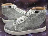 красное окно онлайн оптовых-скидка онлайн мужчины женщины rhinestone High Top обувь известный дизайнер бренд Red bottom кроссовки мужские Луби обувь с коробкой и мешок для пыли