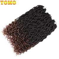 Wholesale Kanekalon Curly - TOMO Hair 24Roots Pack Curly Faux Locs With Curly End Crochet Braiding Hair Extensions 20Inch Kanekalon Synthetic Wave Faux Locs Hair