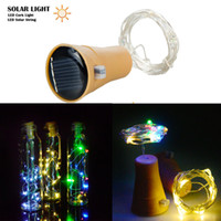 luzes de corda para árvore de natal venda por atacado-1 m 10LED Bottle Stopper Luz Solar Power String Luz Decoração Da Árvore de Natal Lâmpada Ao Ar Livre Jardim Festival de Luz