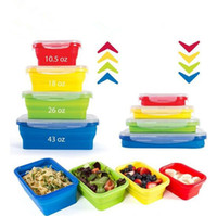 Wholesale Folding Collapsible Storage Box - Houseware Lunch Box Collapsible Portable Food Grade Silicone Bowl Bento Boxes Folding Food Storage Container Lunch Box CCA9170 50pcs