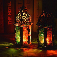 Wholesale metal home decor candle lanterns resale online - Vintage Metal Hollow Candle Holder Color Glass Crystal Moroccan Candlestick Hanging Lantern Wedding Party Home Decor
