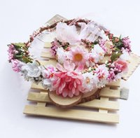 Wholesale berry bracelet - Bridal wedding garlands Girl stereo simulation flowers berries wreath bracelet 2pcs sets bohemian kids rattan weaving flower headbandsYA0153