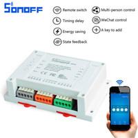Wholesale Original Sonoff CH Wifi Smart Switch Universal Remote Intelligent Switch Interruptor Channel Din Rail Mounting Smart Home Wi FI Switch
