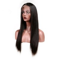 Wholesale Straight Human Hair Front Lace Wig Density Remy Vrigin Natural Color Brazilian Swiss Lace Wigs For Black White Woman