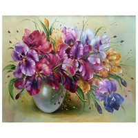 Wholesale canvas painting vases - Diamond mosaic diy diamond painting cross stitch patterns 5d diamond embroidery Flower Vase icon crystal hobby craft