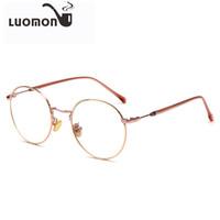Wholesale myopia glasses male eyeglasses frame online - LUOMON Retro Round Glasses Frames Unisex Flat Mirror Eyeglasses Frame New Vintage Myopia Glass Full Frame Female Male