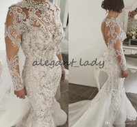 Wholesale dress marriage luxury resale online - Luxury robe de marriage Long Sleeve Wedding Dresses High Neck Lace Applique Crystal Saudi Arabic Bridal Gowns Court Train Custom