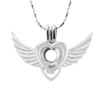 90c7a5b07 New Arrivals 18K Silver Plated The Wings and Love Heart Shape Cage Pendant,  Pack of 5pcs, 23.9*34.2*7.6mm, Fashion Jewelry Jewelry Making
