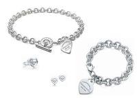 pulseiras de jóias venda por atacado-Alta Qualidade design de Celebridade Carta 925 Anel De Prata pulseira Brincos colar Talheres De Metal Em Forma de Coração Jóias Conjunto 3 pc Com Caixa