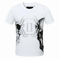 Wholesale Half Skulls - t shirt Europe American Letter Print Mens half skull T-shirts Homme Elastic tshirt Luxury shirts Short Sleeve Male Clothes Black white