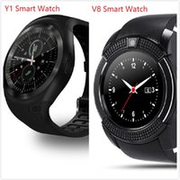 Wholesale Drop Shipping Cell Phones - Y1 V8 smart watch for android smartwatch Samsung cell Phone Newest V8 Smart Watches Clock bluetooth for apple iphone Drop Shipping