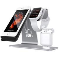 station base großhandel-3 in 1 Drahtlose Ladestation Handyhalter Qi Schnelle Drahtlose Ladegerät Basis Für iPhone 8 X Samsung Galaxy S6 S7 S8 Apple i-Uhr