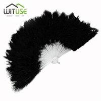 ingrosso fan delle piume nere-WITUSE Ventaglio pieghevole a mano in morbida piuma nera per fornitori di decorazioni per matrimoni. Elegante ventilatore da danza